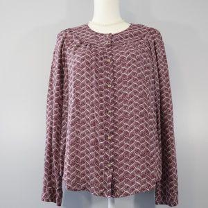 Maeve (Anthro) Pink/Purple Long Sleeve Blouse - L